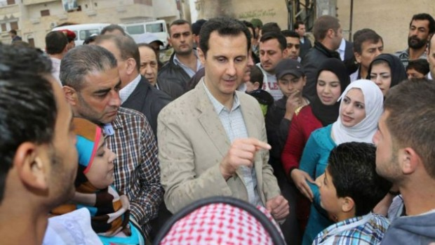 Bashar Assad among his supporters