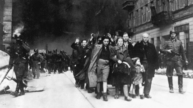 Jewish fighters surrender to Germans after Warsaw ghetto uprising is crushed