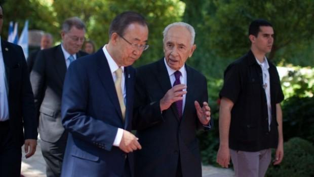 Shimon Peres and Ban Ki-moon in Israel