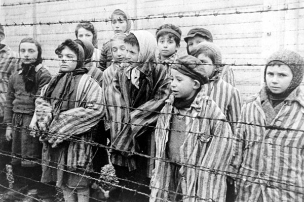Survivors of the Auschwitz concentration camp, 1945