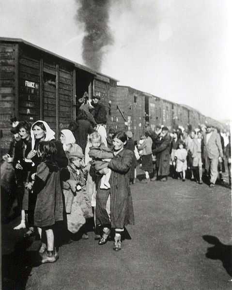 Polish Jews boarding a train bound for Tereblinka