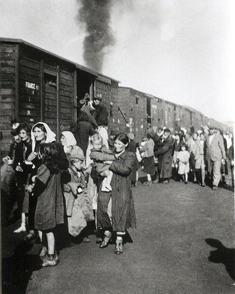 Polish Jews boarding a train bound for Tereblinka