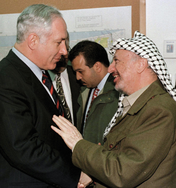 Benjamin Netanyahu and Yasser Arafat