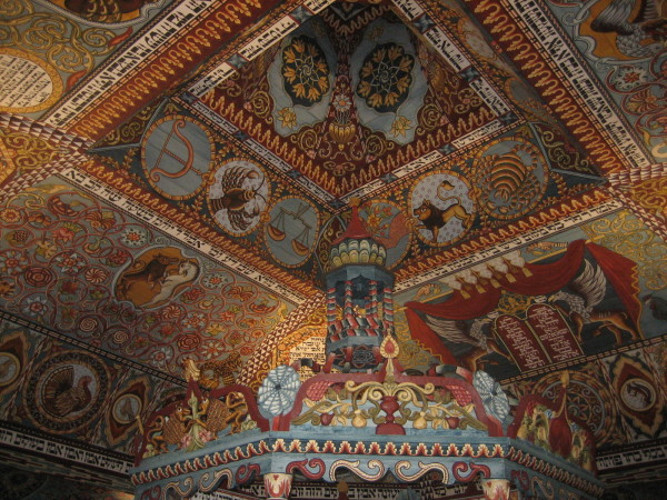 Ceiling of wooden synagogue (Sheldon Kirshner photo)