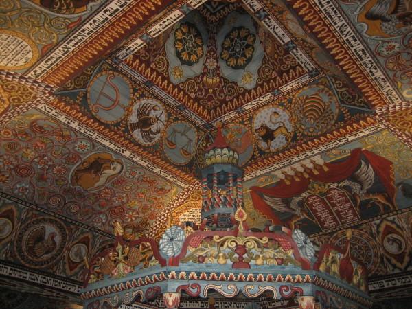 Ceiling of wooden synagogue (Sheldon Kirshner photo)
