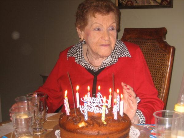 Genya Kirshner celebrating one of her last birthdays (Sheldon Kirshner photo)
