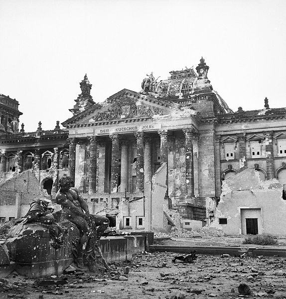 The ruins of Germany's parliament in 1945