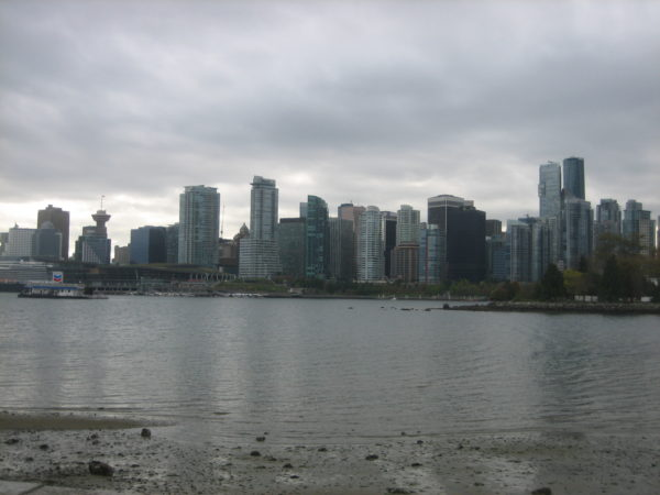 View of downtown Vancouver from the seawall on a cloudy day