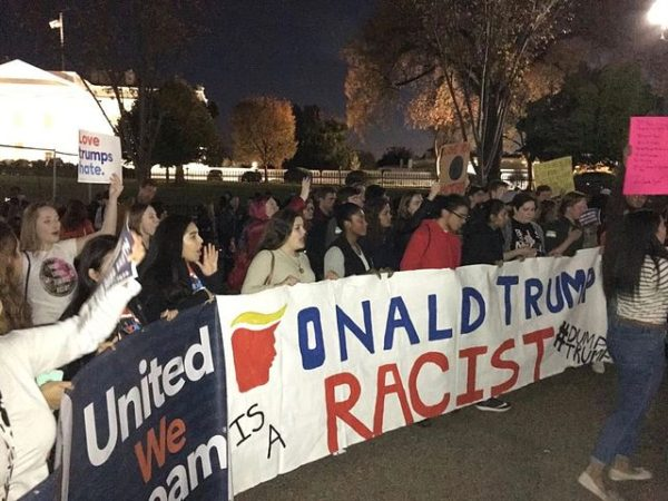 An anti-Donald Trump protest in Washington, D.C. after his election victory