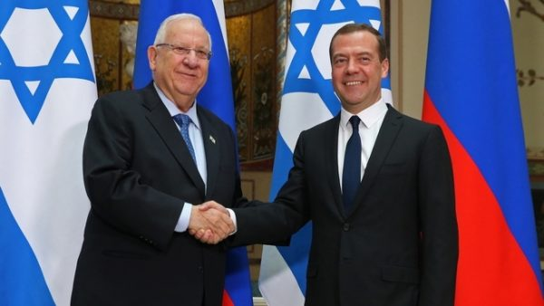 Dmitry Medvedev greets Reuven Rivlin in Jerusalem
