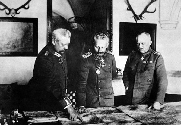 Paul von Hindenberg, left, plans strategy with Kaiser Wilhelm II, center, and Erich Ludendorff