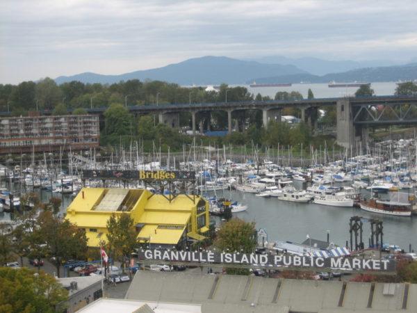 Granville Island Market as seen from the Granville bridge